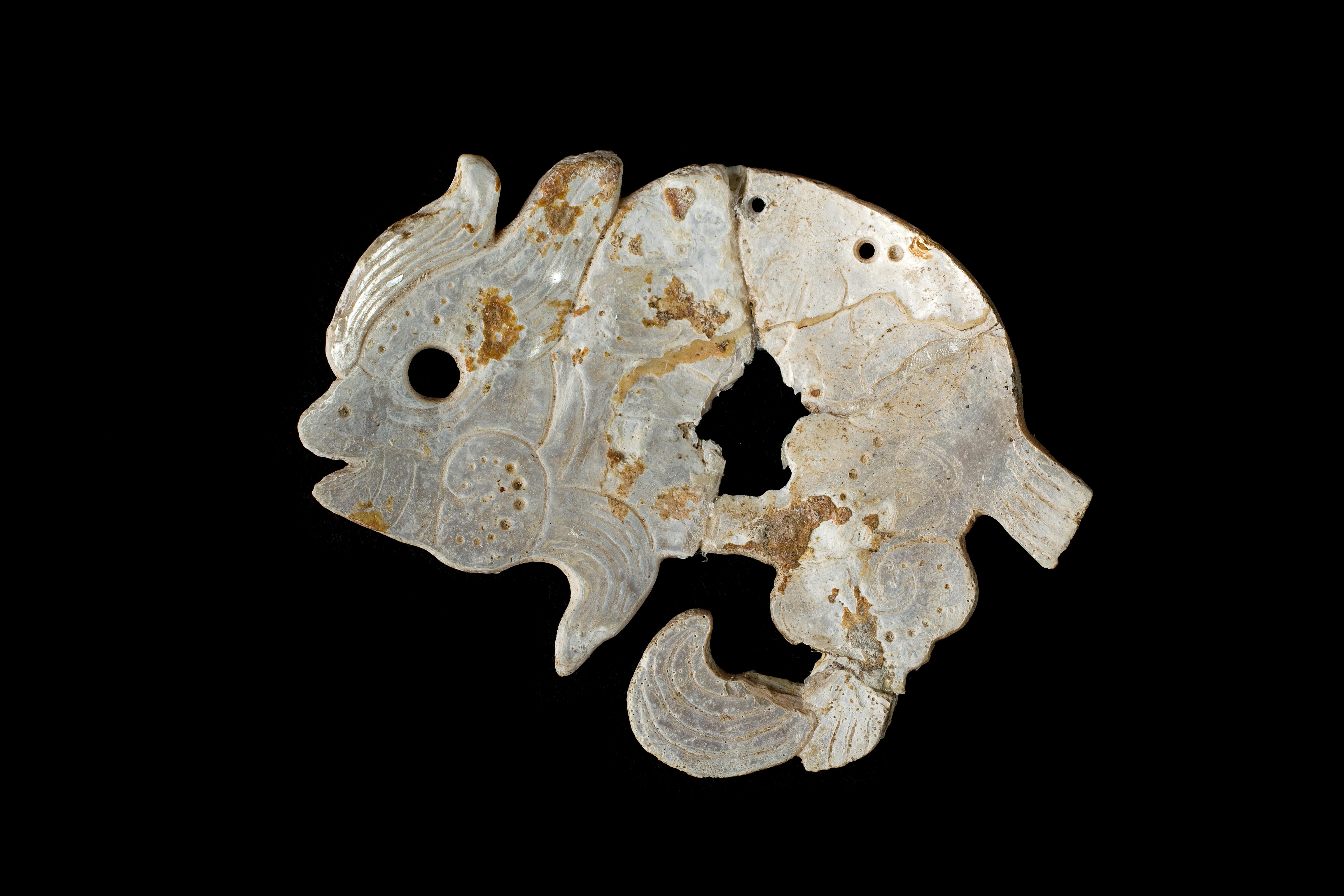 Colgante de concha en forma de pez que se localizó sobre el pecho del gobernante de Ek Balám.